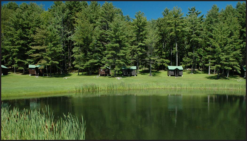 Twin Valleys pond and cabins