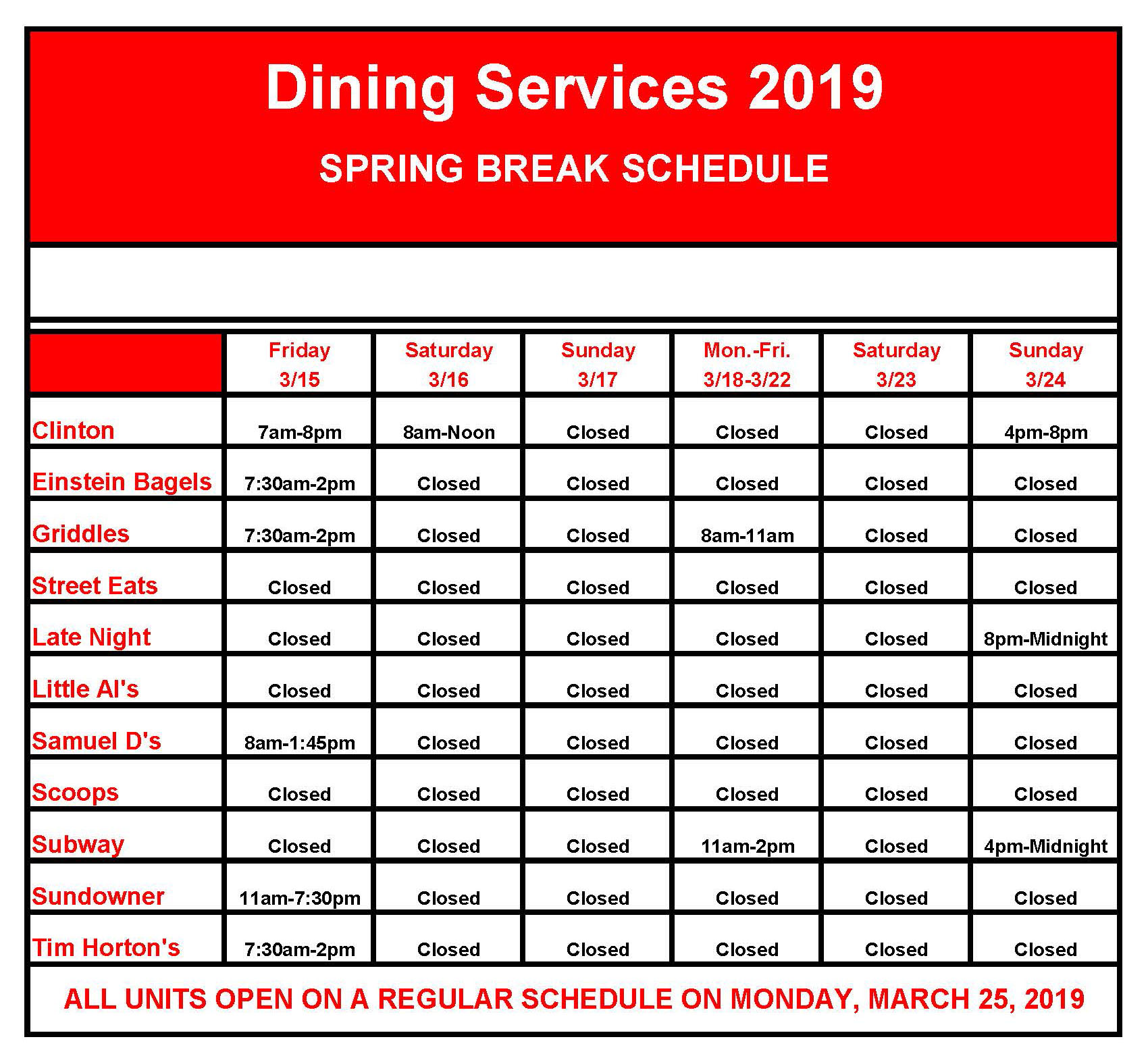 Dining Locations Regular Special Hours And Map Suny Plattsburgh Cas