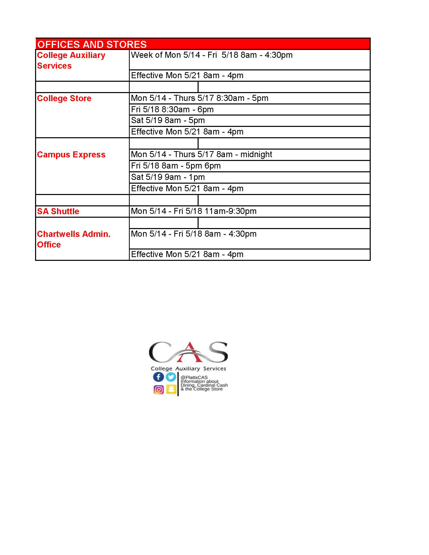 Stores and CAS Office Finals and Summer Hours