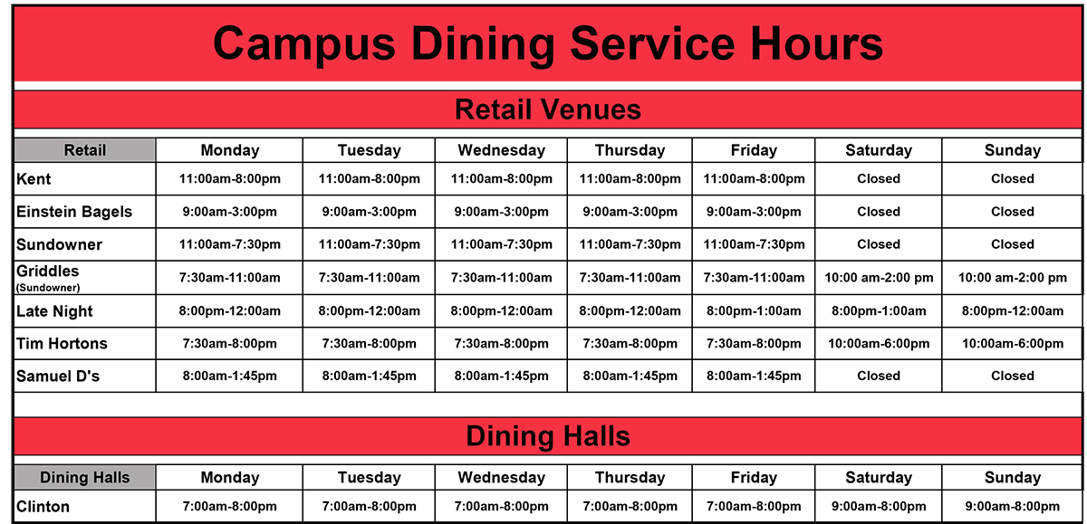 Dining Schedule Spring 2021